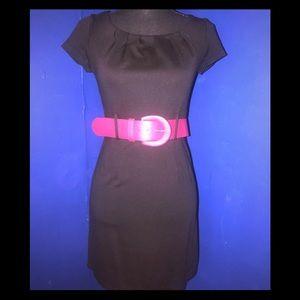 H&M Front Pleated Black Dress w/Pink Belt